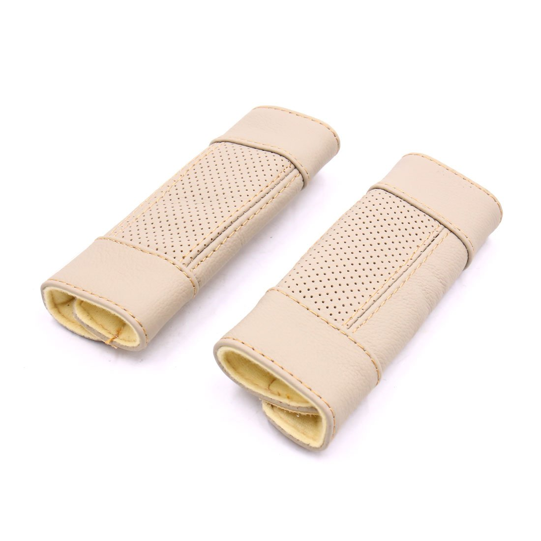 sourcingmap 2pcs Faux Leather Car Hand Brake Lever Protective Sleeve Cover Beige a17061900ux1542