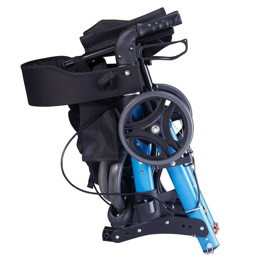 Rollator Walker Under Seat Storage Basket Height Adjustable Roller Double Safety Brake Auxiliary Walking Safety Walker (Color : Blue) by YL WALKER (Image #2)