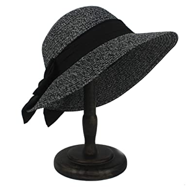 Black//Gray fashionable Women/'s Brim Summer Beach Sun Hat Elegant Straw Cap NEW