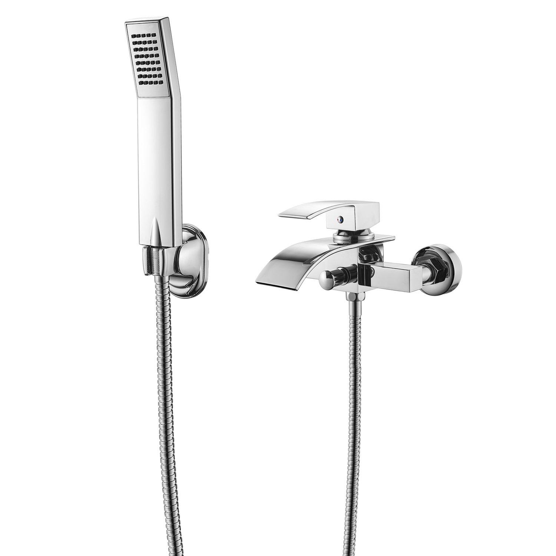 Badewannenarmatur, WOOHSE Badewanne Wasserhahn mit Handbrause Wasserfall Duschsystem ...