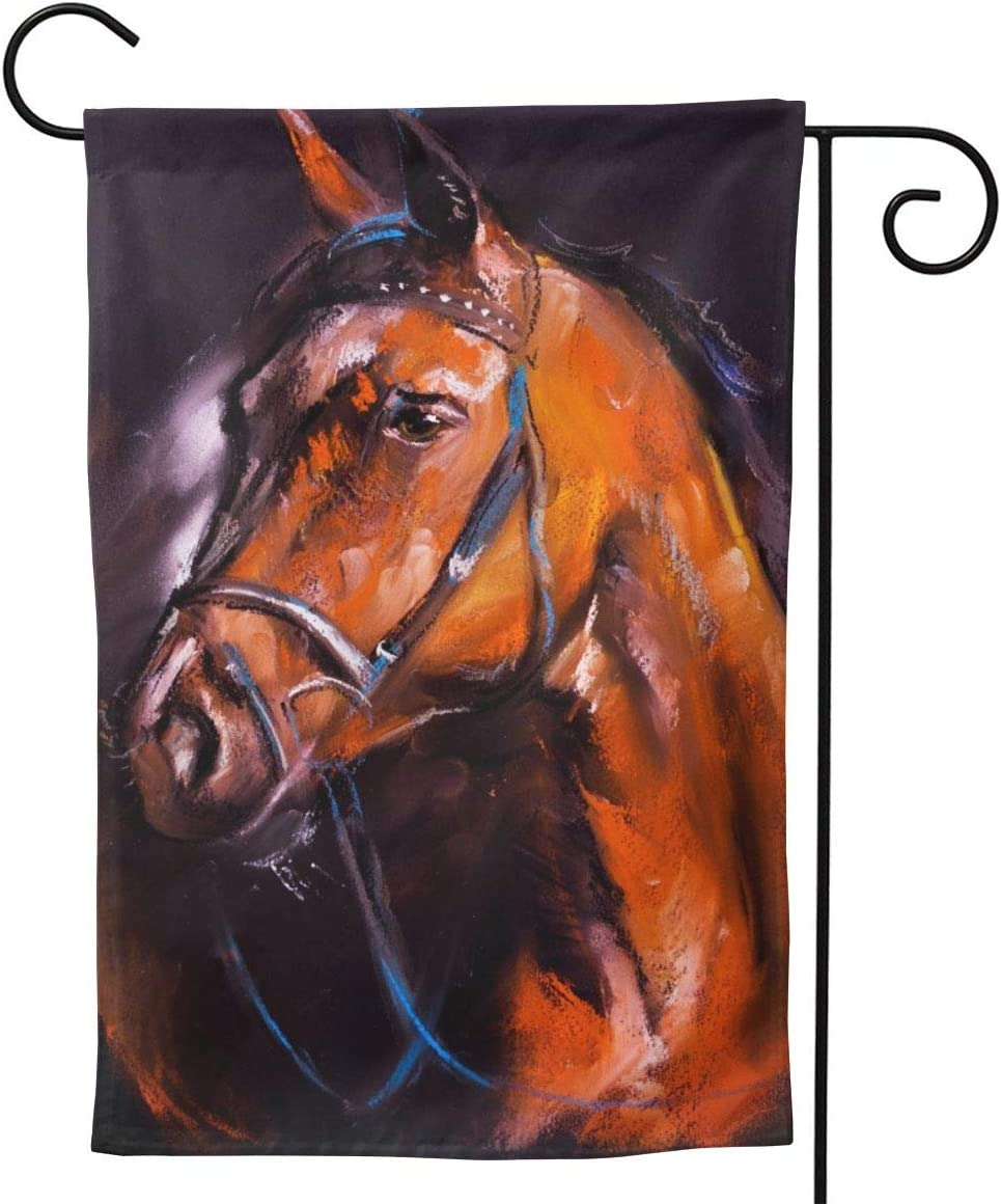 """YISHOW Farm Animal Brown Horse Painting Garden Flag Double Sided Vertical Farm Animal Brown Horses Painting House Flags Yard Signs Outdoors Decor 12.5"""" X 18"""""""