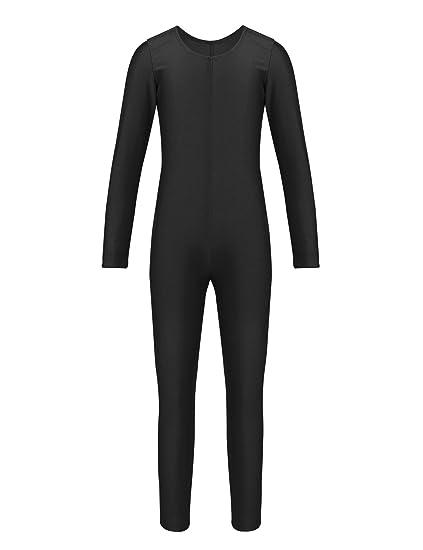 960c0997d119 iiniim Children Boys Girls Spandex Long Sleeve Scoop Neck Full Body Unitard  Leotard Jumpsuit Dance wear