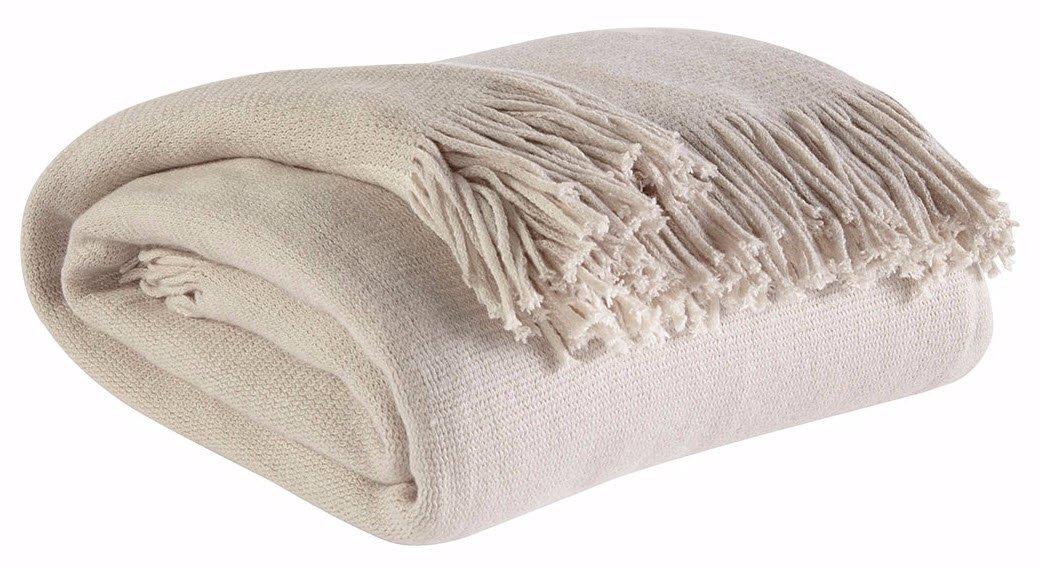 Ashley家具署名デザイン – Haiden Soft Throw Blanket – 従来 – アイボリー/トープ B01G7T470G