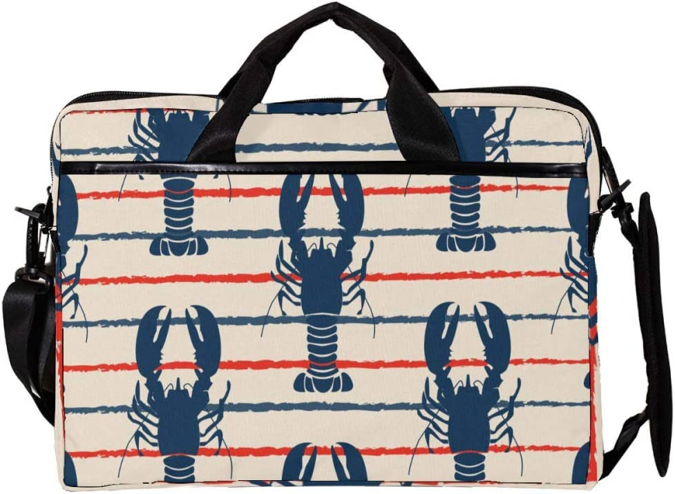 Retro Marine with Lobster Laptop Messenger Bag Zipper Notebook Computer Sleeve Case Compatible 14-15.4 Inch Laptop