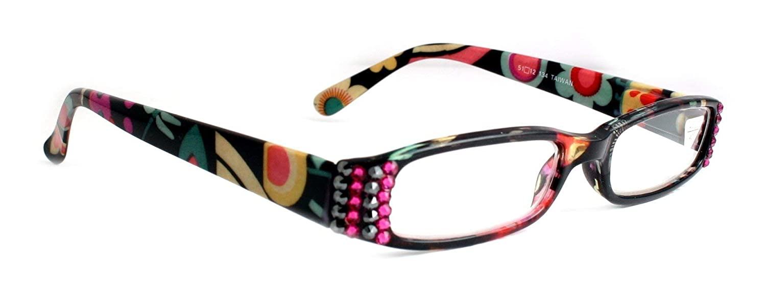 The Lady Bug Florist, Narrow Women Reading Glasses Adorned with Swarovski Crystals +1.25, 1.50, 1.75, 2.00, 2.25, 2.50, 2.75, 3.00, 3.50, 4.00 Black/Teal / Pink/White