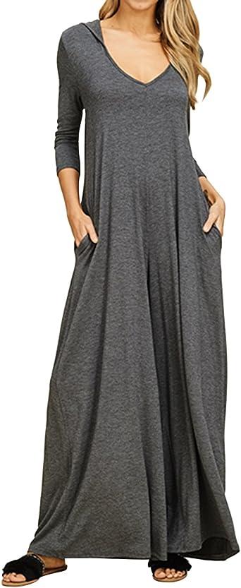Jacansi - Vestido largo de manga larga para mujer, informal, de ...