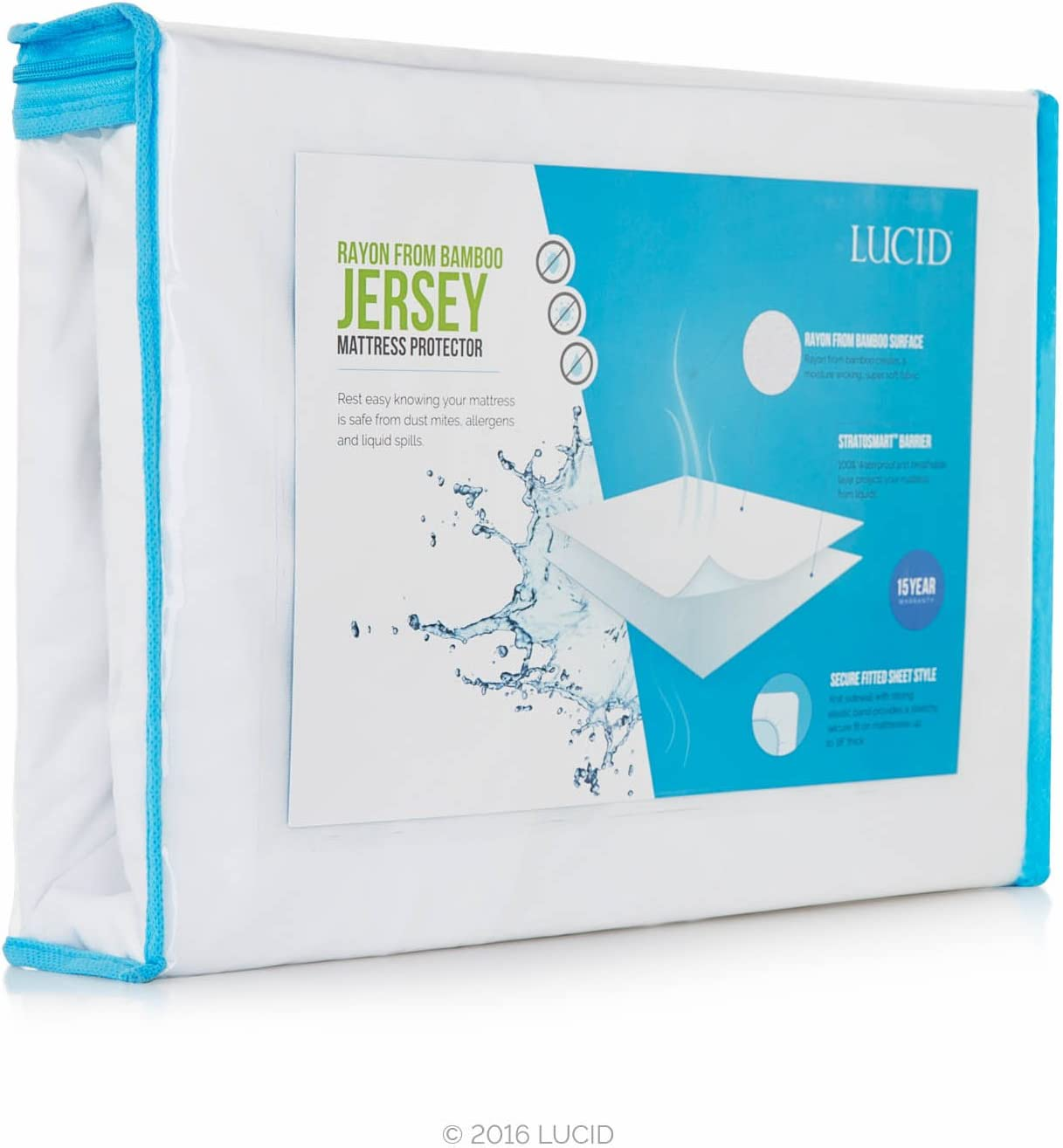 LUCID Premium Rayon from Bamboo Jersey Mattress Protector - Ultra Soft - Waterproof - Dust Mite Proof - Hypoallergenic - Queen