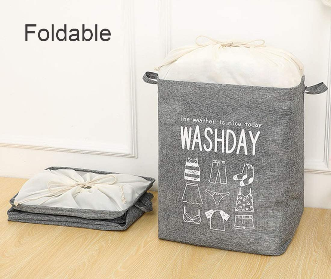 Folding Storage Bin with Durable Handle Storage Basket,Foldable Laundry Hamper 21 Tall Collapsible Clothes Organizer Coffee, 1