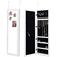 Costway Mirror Jewellery Cabinet Storage Organiser Box Wooden Makeup Door/Wall Gift