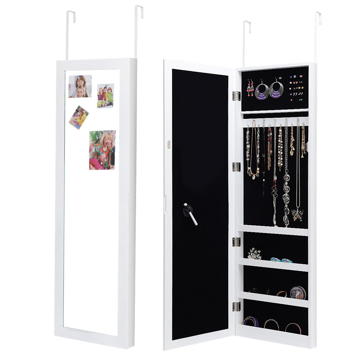 Giantex Wall Door Mounted Jewelry Cabinet Armoire for Girls Mirrored Magnetic Storage Organizer Hanging Jewelry Armoire w/Pen, Pen Holder,Magnets (White)