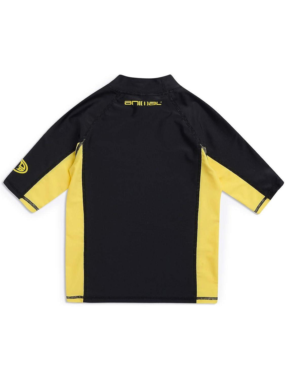Slim fit UPF 50+ GSM: 190 Polyamide//Elastane Animal Junior Boys Hiltern Short Sleeve Rash Vest Top Black CL9SQ610