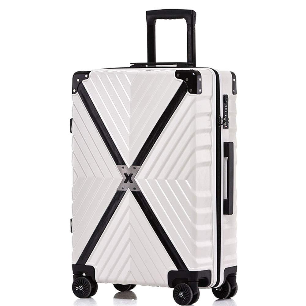 DS-トロリー トロリーケース - ABS/PC、TSAコンビネーションロック、大容量、レトロエンボス加工テクスチャ衝突防止キャスター学生搭乗 - 3色3サイズオプション && (色 : 白, サイズ さいず : 40*26*60cm) 40*26*60cm 白 B07MMJFKDD