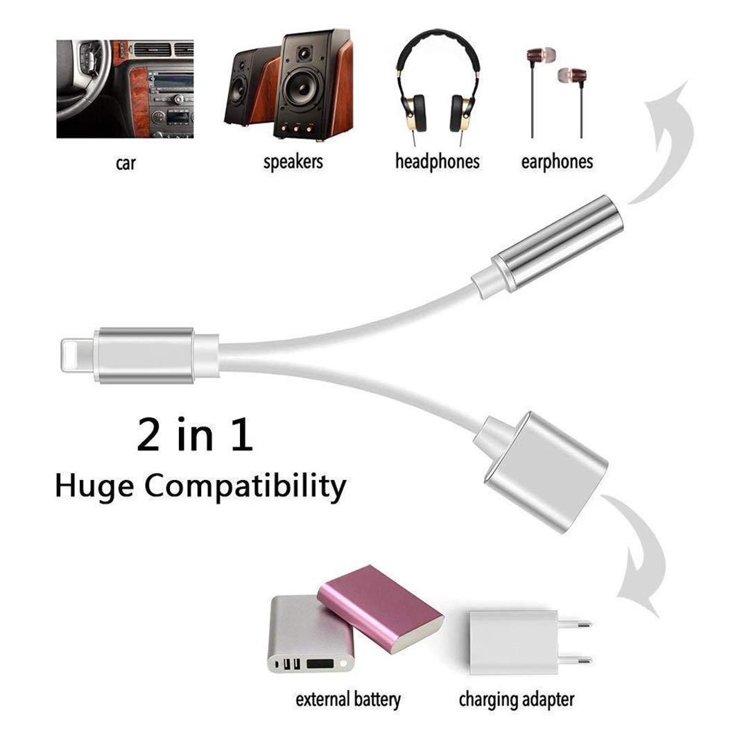 Adaptador de Auriculares para iPhone 7 Adaptador de Auriculares de 3.5 mm Jack Auriculares Cargador Dongle Cable para iPhone 7//7 Plus 8//8 Plus//XS//XS MAX//XR【Escuchar Cargar】 Soporte Todo iOS