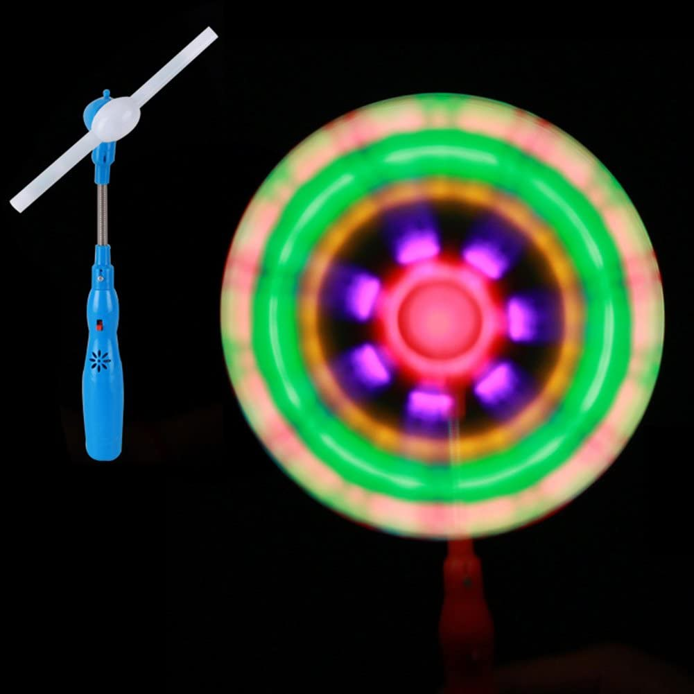 Glows Classic Toys for Children Kids Present Gift Ocamo Windmills LED Flashing Light Up Toy Music Rainbow Spinning Windmill