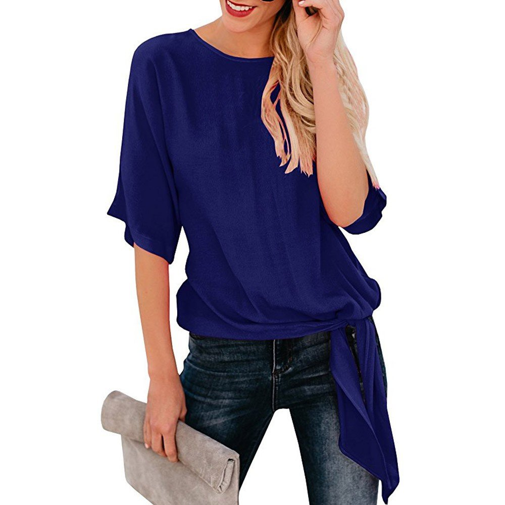 Hot! Womens Blouses Deals Ladies Flounce Sleeve O-Neck Lace up Casual T-Shirt Top