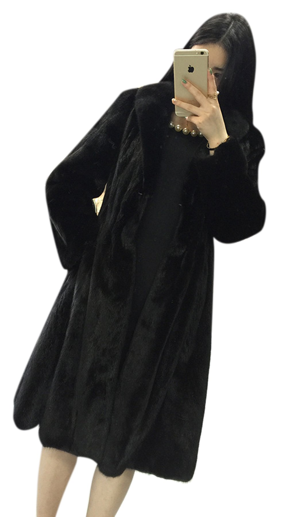 AZIZY Women's Black Luxury Faux Mink Fur Slim Lapel Long Sleeve Thick Warm Maxi Coat 2XL by AZIZY (Image #3)