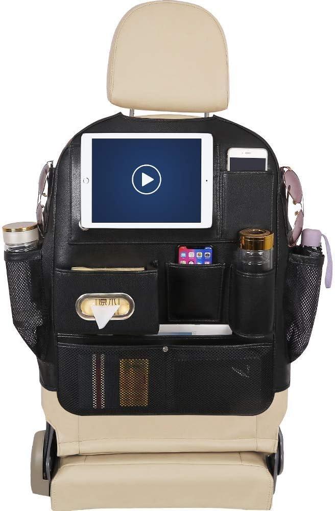 Beige Storage Bottles Toys Tissue Box PG-21 YRCP Pu Leather Car Seat Back Organizer with iPad Holder Big Capacity Backseat Organizer for Kids