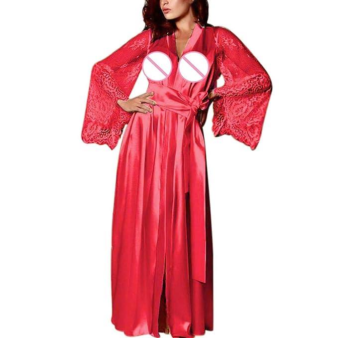 Luckycat Moda De La Mujer Kimono De Seda Sexy Vestido CóModo Babydoll Encaje Ropa Interior CamisóN CinturóN Albornoz Albornoz Pijamas(S-XL): Amazon.es: Ropa ...