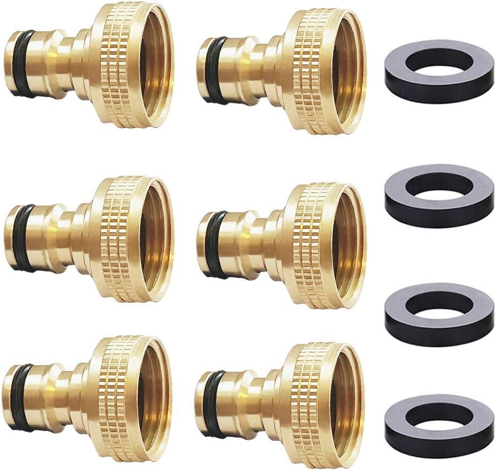 """HQMPC Garden Hose Quick Connector Garden Hose Nipple Female 3/4"""" GHT Garden Hose Plug (6Pcs)"""