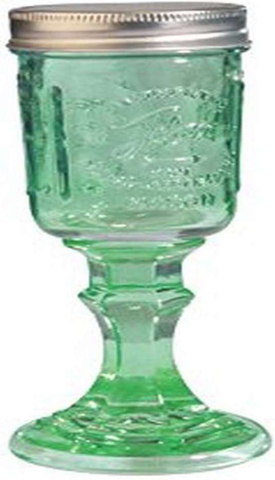 Toland Home Garden Mason Jar Wine Glass, 1 pint, Green