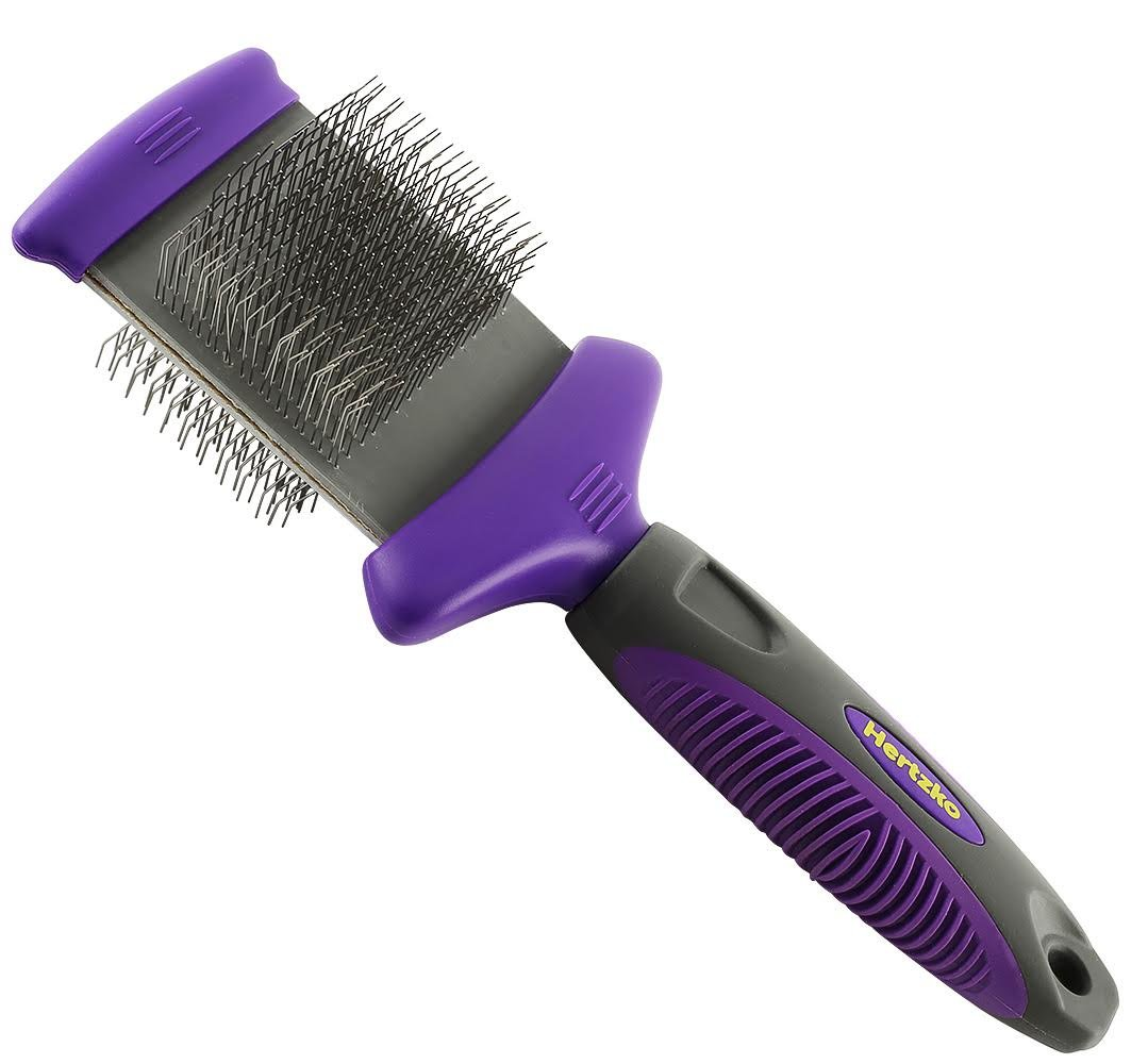 Hertzko Double Sided Flexible Slicker Brush By Removes Loose Hair, Tangles, and Knots, Flexible Head Contours on Your Pet's Skin - Suitable for Dogs and Cats