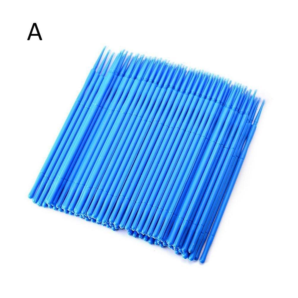 HERME 100Pcs Disposable Cotton Swab Eyelash Extensions Applicators Blue