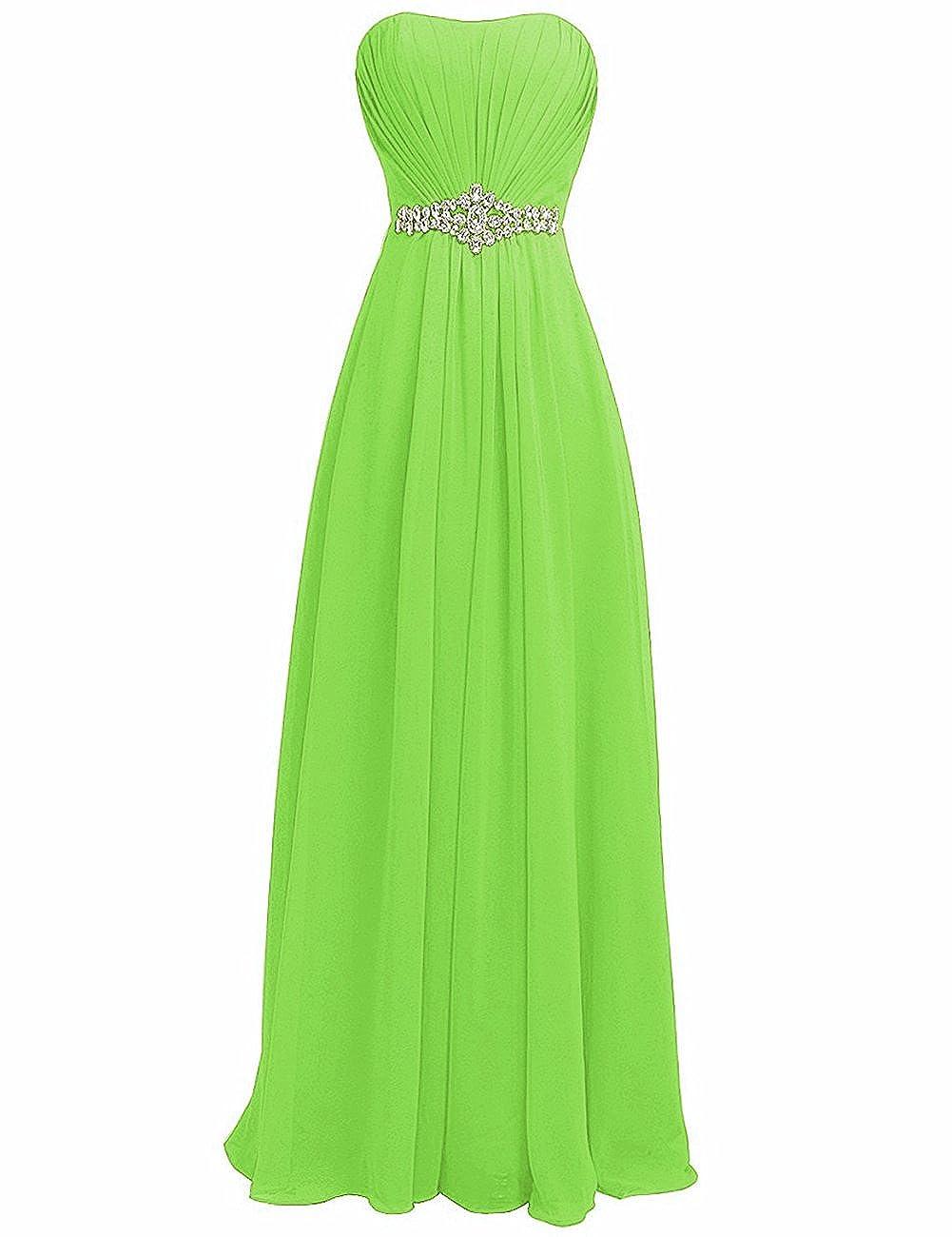 Lemon Green H.S.D Women's Strapless Rhinestone Sash Long Bridesmaid Dress Evening Gown
