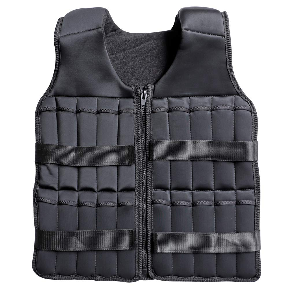 Portzon Adjustable Weighted Vest, 10lbs, 15lbs, 20lbs Comfortable Thin Steel Running Weights Vest for Men or Women with Durable Cordura Fabric, Reflective Trim, and Shock Cord Side Lacing