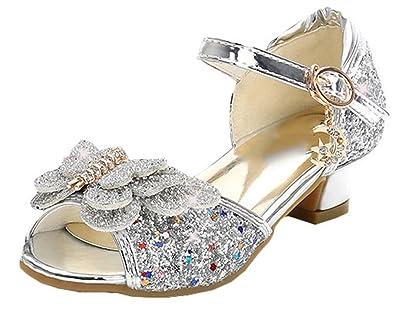 Bevalsa Fille Sandale Princesse Ballerine Chaussures à Talon à Déguisement  Princesse Nœud Papillon Paillettes pour Enfant a4af5c40b5b2