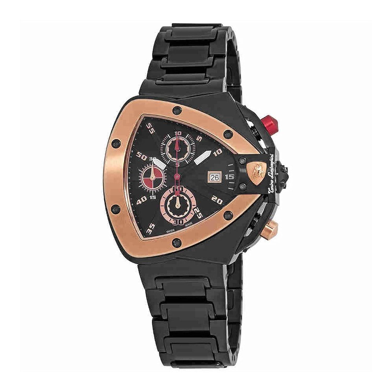 Lamborghini Spyderブラックダイヤルメンズクロノグラフ腕時計9802 B00PIQEE3K