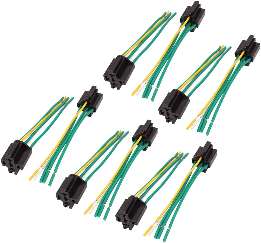 uxcell DC 12V//24V 40A Cross Type 5-Pin Relay Socket Harness Connector 10pcs for Car Truck