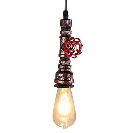 KAWELL Industrial Vintage Lámpara Colgante Luz de Tubo de Agua Lampara de Techo Retro Luz Pendiente E27 Base Hierro para Cafe, Loft, Bar, Restaurante, ...