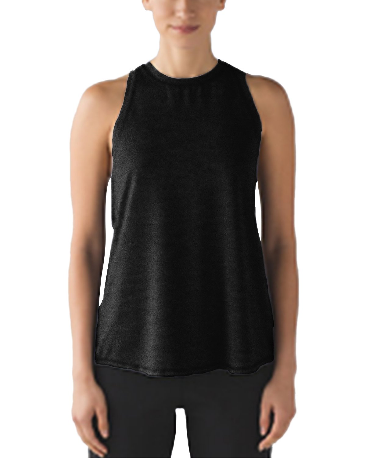 PODOM Women's Yoga Tops Athletic Tees Workout Tanks Crew Neck Shirts Activewear (S, Black)