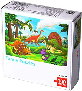 JJHAEVDY 100 Pieces Jigsaw Puzzle for Children , Cartoon Dinosaur Girl Picture Educational Intellectual Games, Cardboard Puzzles, Home Decoration Stress Reliever Toy Sets for Family