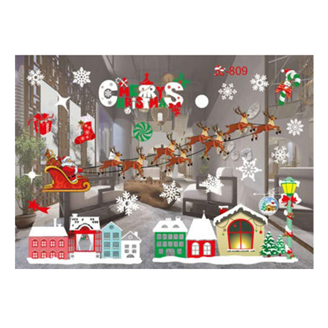 Kaimus Natale Vetrofanie Rimovibile Adesivi Murali Fai da te Finestra Decorazione Vetrina Wallpaper Adesivi (Type 1)