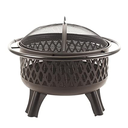 Hampton Bay Piedmont 30 in. Steel Fire Pit in Black with Cooking Grate - Amazon.com : Hampton Bay Piedmont 30 In. Steel Fire Pit In Black