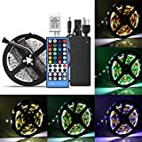 dc heat tape - SUPERNIGHT LED Light Strip, Strong Adhesive 16.4ft RGBW Color Changing Super Bright Decorating Tape Light Strip [DC 12V 300 Leds SMD 5050 LED Light] With 40 Keys IR Remote Controller, Power Supply