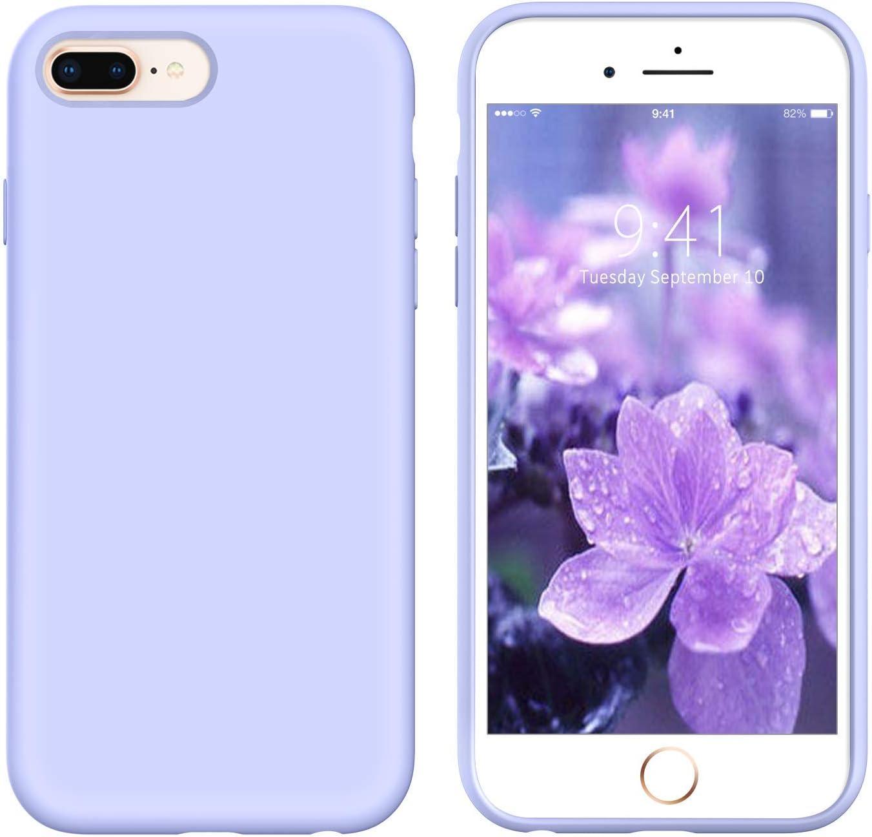 YINLAI iPhone 8 Plus Case iPhone 7 Plus Case Liquid Silicone Soft Rubber Cover Slim Shockproof Protective Grip Girls Women Phone Cases for iPhone 8 Plus/7 Plus,Purple/Pastel Lavender
