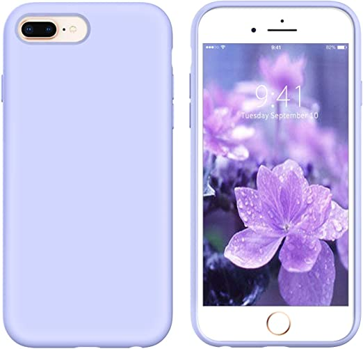 YINLAI iPhone 8 Plus Case Silicone Purple, iPhone 7 Plus Purple Lavender Cases,Liquid Silicone Slim Soft Gel Rubber Cover Microfiber Cloth Lining ...
