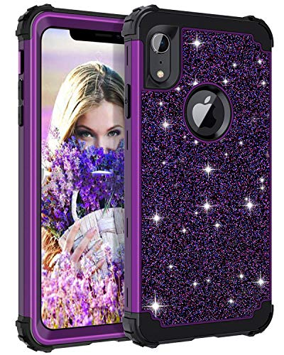 Casetego Compatible iPhone XR Case,Glitter Sparkle Bling Three Layer Heavy Duty Hybrid Sturdy Armor Shockproof Protective Cover Case for Apple iPhone XR 6.1