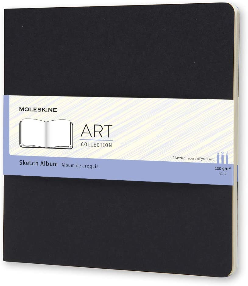 "Moleskine Art Sketch Album, Hard Cover, Square (7.5"" x 7.5"") Plain/Blank, Black, 88 Pages: Moleskine: Office Products"