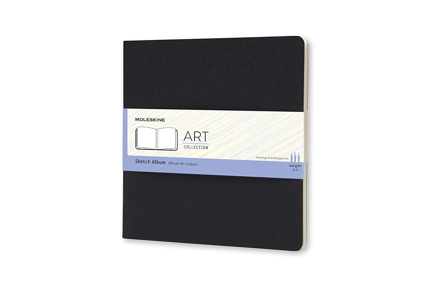 Moleskine - Art Collection - Album de Croquis, Carnet de Croquis avec Couverture Rigide, Papier pour Stylos, Crayons de Couleur, Fusain - Couleur Noir - Carré Taille 19 x 19 cm, 88 Pages