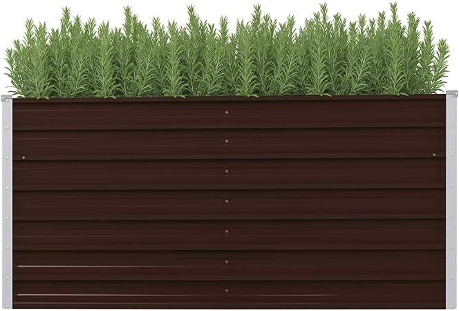 Tidyard Jardinera de Acero Maceta de Acero para jardín galvanizado marrón 240x80x77 cm: Amazon.es: Hogar