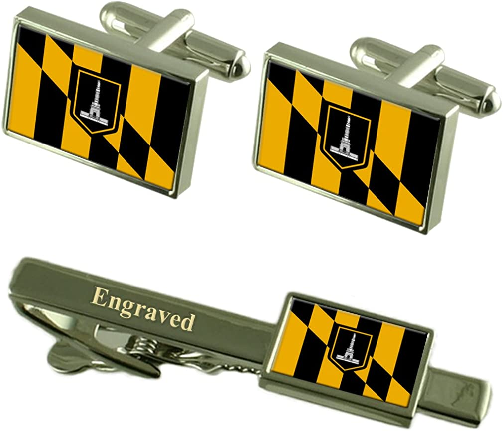 Baltimore City USA Flag Cufflinks Engraved Tie Clip Set