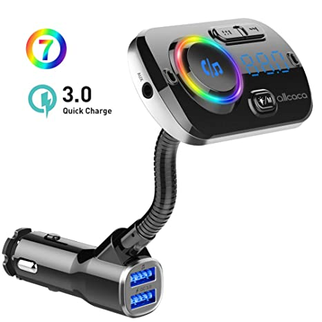 ALLCACA Car FM Transmitter Wireless Audio Adapter Receiver Hands Free Car Kit with QC3.0 Charging and 7-Color Backlit, 4 Play Modes