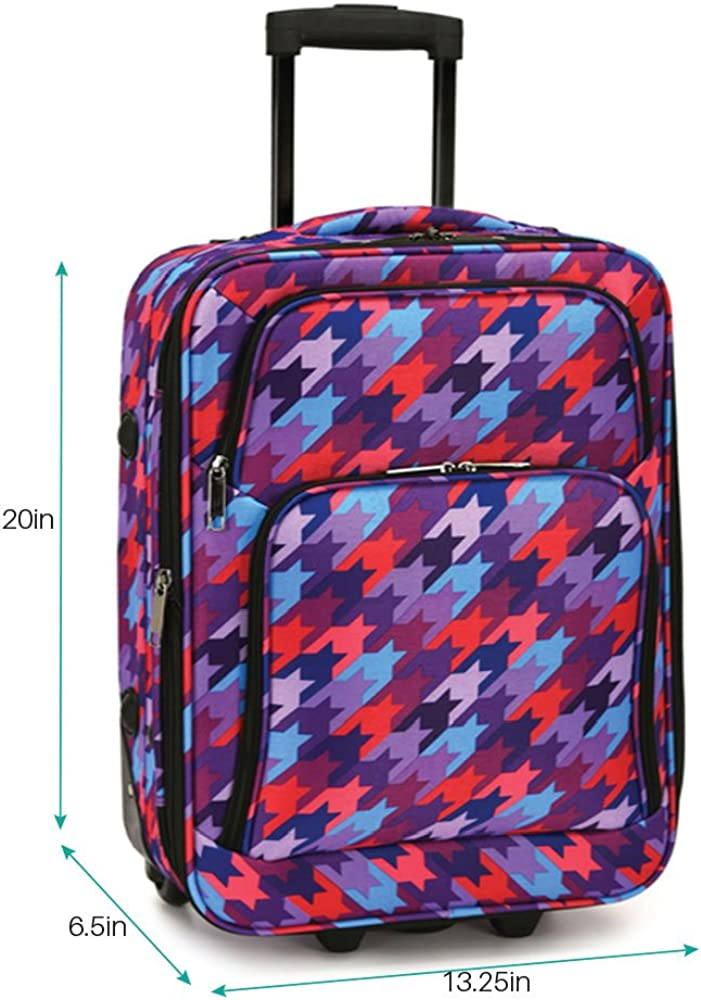 Roll on Luggage for Women Houndstooth Expandable Carry-On Rolling Suitcase Retractable Handle System Side Panel Protectors Shield Your Case from Dirt While Resting on the Ground Polyester Multi