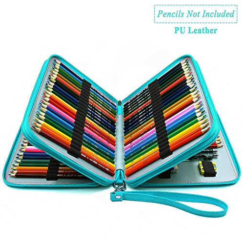 YOUSHARES 120 Slots Pencil Case - PU Leather Handy Large Multi-layer Zipper Pen Bag with Handle Strap for Prismacolor Watercolor Pencils, Crayola Colored Pencil, Marco Pens, Cosmetic Brush (Turquoise) by YOUSHARES