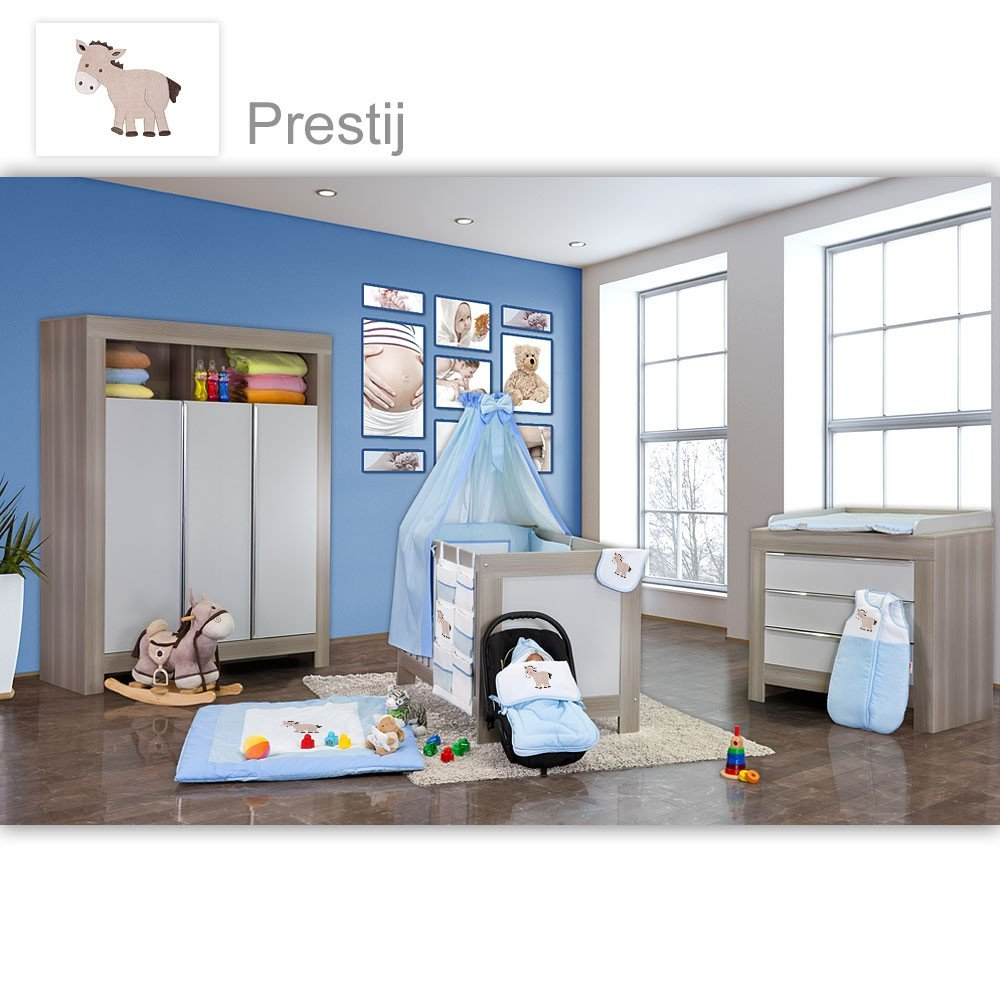 Babyzimmer Felix in akaziengrau 21 tlg. mit 3 türigem Kl. + Prestij in Blau