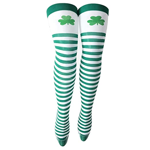 4c568157c 1 Pair St. Patrick s Day Green Shamrock Over Knee High Socks Long Striped  Stockings for Women Girls (Color   Color 01