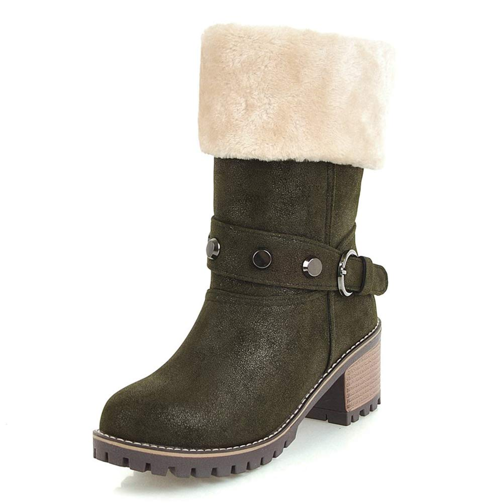 BNXXINGMU Winter Warme Schneeschuhe Frau Schuhe Frauen Square Heels Stiefel